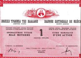 Banque Nationale De Grèce: Titre Nominatif D'une Action - Azioni & Titoli