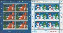 2017 Belarus - Christmas, New Year In Kids Pictures - MNH** Set Of Sheetlets - Mi 1211/12 - Red Church In Minsk, Snowmen - Belarus