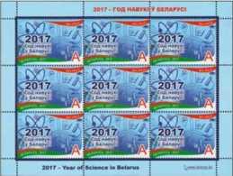 2017 Belarus -Year Of Sceince In Belarus - S/S MNH** MI 1221 - Nuclear And Wind Power, Chemistry, Microscope - Belarus