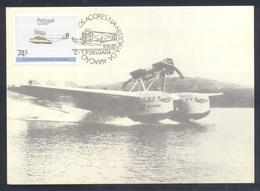 Portugal Azores 1987 Maximum Card: Transport Aviation: Airplain Hydroplan Savoia Marchetti S 55 X - Aerei