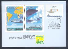 Portugal Azores 1987 Maximum Card: Transport Aviation: Airplain Taifun;  Brasiliana 89 - Aerei