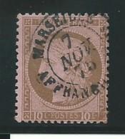 FRANCE: Obl., N° YT 54, Brun Sur Rose, Fond Ligné, B. Cad, TB - 1871-1875 Ceres