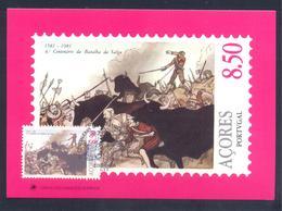 Portugal Azores 1981 Maximum Card: History Portuguese Succession, Batle Of The Salga 1581: Fauna Animals Bull - Geschichte