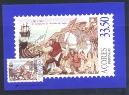 Portugal Azores 1981 Maximum Card: History Portuguese Succession, Batle Of The Salga 1581: Fauna Animals Horse; - Geschichte