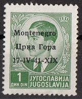 "Montenegro 1941 Sc. 2N1 King Peter II ""Issued Under Italian Occupation"" Overprint  Nuovo - Montenegro"
