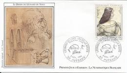 Premier Jour La Numismatique Française Leonard De Vinci 8 11 1986 - FDC