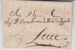 ITALIA USED COVER 1819 NAPOLI LECCE - ...-1850 Voorfilatelie