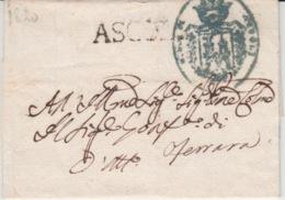 ITALIA USED COVER 1820 ASSISI FERRARA - ...-1850 Préphilatélie