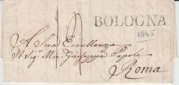 ITALIA USED COVER 1845 BOLOGNA ROMA - 1. ...-1850 Prephilately