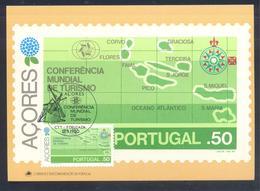 Portugal Azores 1982 Maximum Card: Tourism Maps Azores Archipelago; Wind Mill - Holidays & Tourism