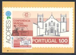 Portugal Azores 1982 Maximum Card: Tourism Of Azores; Architecture, Villa Praia, Vitoria (terceira Island); Wind Mill - Holidays & Tourism