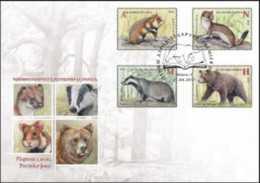 2017 Belarus - Endengered Animals Of Belarus Mammals Bear, Dax, Hermelin, - FDC - Belarus