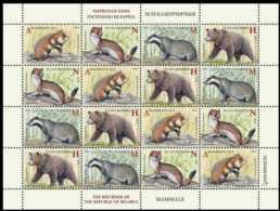 2017 Belarus - Endengered Animals Of Belarus Mammals Bear, Dax, Hermelin, - Sheet Of 4 Sets MNH** MI1189/92 - Belarus