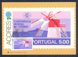 Portugal Azores 1980 Maximum Card: Tourism Of Azores; Architecture, Wind Mill From Faial Island - Holidays & Tourism