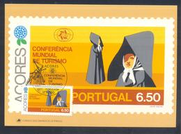 Portugal Azores 1980 Maximum Card: Tourism Of Azores; Traditional  Costume From S. Miguel Island; Wind Mill Cancellation - Ferien & Tourismus