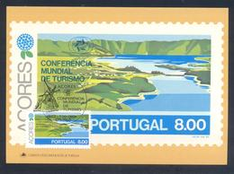 Portugal Azores 1980 Maximum Card: Tourism Of Azores; Lagoon Sete Cidades On San Miguel Island; Wind Mill Cancellation - Ferien & Tourismus