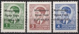 """Montenegro 1941 Sc. 2N1-2N5-2N6 King Peter II """"Issued Under Italian Occupation"""" Overprint  Nuovo - Montenegro"""