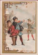 Old Chromo (Liebig Style) Kinderen Enfants Children Playing Snow Winter Boules De Neiges Sneeuwballen Gooien Hiver - Autres