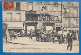 75 - PARIS - XVIIe - STATION  DU MÉTROPOLITAIN - PLACE CLICHY - COMMERCES  - PHARMACIE COMMMERCIALE - VERSO - Métro Parisien, Gares