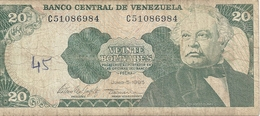 BANCO CENTRAL DE VENEZUELA - 20 BOLIVARES . JUNIO - 5- 1995  . N° C 51086984   . 2 SCANES - Venezuela