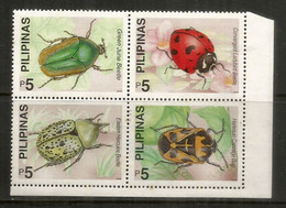 Coccinelle,Ladybird,Hercules Beetle,Cabbage Bug,Green Beetle. 4  Mint ** Stamps Philippines (block Of Four) - Insectes
