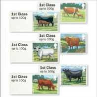 2012 UK / Great Britain - Post And Go Set Cows Breeds Of UK- 6 V Self Adhesive Set MNH MiNr. 40 - 45 - Great Britain