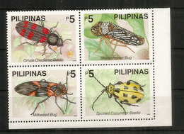 Checkered Beetle,sharpshooter Bug,Cucumber Beetle,Milkweed Beetle. 4  Mint ** Stamps Philippines (block Of Four) - Insectes