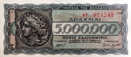 Greece 5 Million Drachmai, P-128a (20.7.1944) - UNC - Griekenland