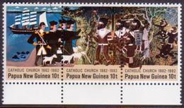 PAPUA NEW GUINEA 1982 SG #457-59 Compl.set Used In A Strip Of Three Centenary Of Catholic Church - Papua New Guinea