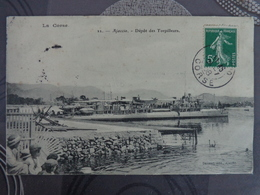 20 AJACCIO DEPOT DES TORPILLEURS CIRCULE 1908 - Ajaccio