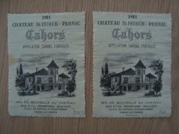 LOT DE 2 ETIQUETTES DE VIN CAHORS CHATEAU SAINT DIDIER 1981 - Cahors