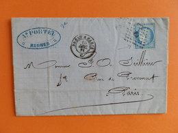 CERES DENTELE 60 SUR LETTRE DE RENNES A PARIS DU 15 DECEMBRE 1871 (AMBULANT B P) - 1849-1876: Période Classique