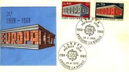 *1969 - ANDORRA FRANCESE - EUROPA - BUSTA FDC.+5 - Storia Postale