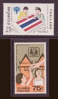 Thailand #875-76 International Year Of The Child 2v MNH / ** Thai Flag Paintings Art Boy Girl - Childhood & Youth