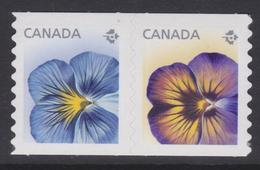 CANADA, 2015,#2811ii  FLOWER: PANSIES,   Coils DIE CUT FROM QUATERLY PACK, - Roulettes