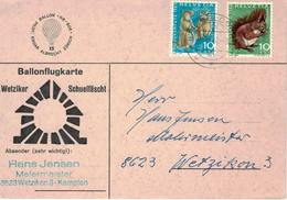 Poste Aérienne. Vol Par Ballon. Suisse: Wetzikon => Feldbach, 9-09-1968. Pilote: Edgar Albrecht. - Pro Juventute