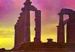Sounion - Sonnenuntergang Am Poseidon Tempel - Formato Grande Non Viaggiata – E 9 - Grecia