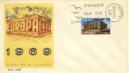 1969 - SPAGNA - EUROPA - BUSTA FDC.+4 - FDC