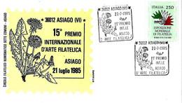 ITALIA - 1985 ASIAGO (VI) 15° Premio Arte Filatelica - Tarassaco O Soffione, Pianta Alpina Su Busta Speciale - Esposizioni Filateliche