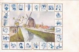 Postkaart Delft Tegens Delfts Blauw, Molen, Moulin, Windmill (pk58796) - Delft