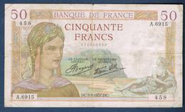 50 FRANCS CÉRÈS Fayette N° 18 Du 9.9.1937.DC N° 458 A.6915 état SUP - 50 F 1934-1940 ''Cérès''