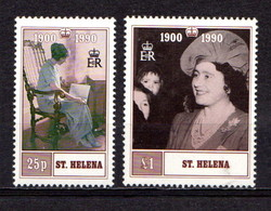 SAINT  HELENA    1990    90th  Birthday  Of  Q E The  Queen  Mother    Pair    MNH - Saint Helena Island