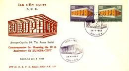 1969 - TURCHIA - EUROPA - BUSTA FDC.+4 - 1921-... Repubblica