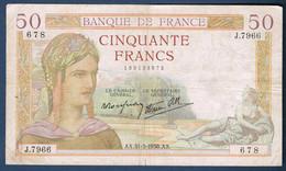 50 FRANCS CÉRÈS Fayette N° 18 Du 31.3.1938.AX N° 678 J.7966 état SUP - 1871-1952 Anciens Francs Circulés Au XXème