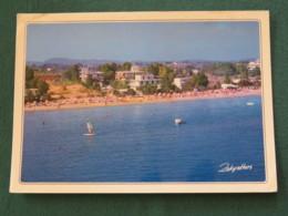 "Greece 1987 Postcard "" Zakynthos Beach Boats "" To England - Architecture Ionic Capital - Greece"