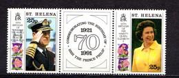 SAINT  HELENA    1991    65th  Birthday  Of  Q E  II    Strip  Of  2  +  Label    MNH - Saint Helena Island