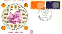 1970 - ANDORRA FRANCESE - EUROPA - BUSTA FDC. - Storia Postale