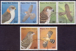 PAPUA NEW GUINEA 1985 SG #500-05 Compl.set In 3 Horiz.pairs Used Birds Of Prey - Papua New Guinea
