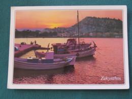 "Greece 1988 Postcard "" Zakynthos Boats"" To England - Corfu Promenade - Greece"
