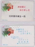 LOT De 2 Télécartes Japon / MD 110-27 - FLEUR - ROSE - FLOWER Japan Phonecards * TELECA * -  2449 - Fleurs